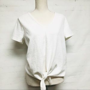 J. Crew White Tee with Knotted Hem